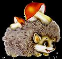Hedgehog with mushrooms