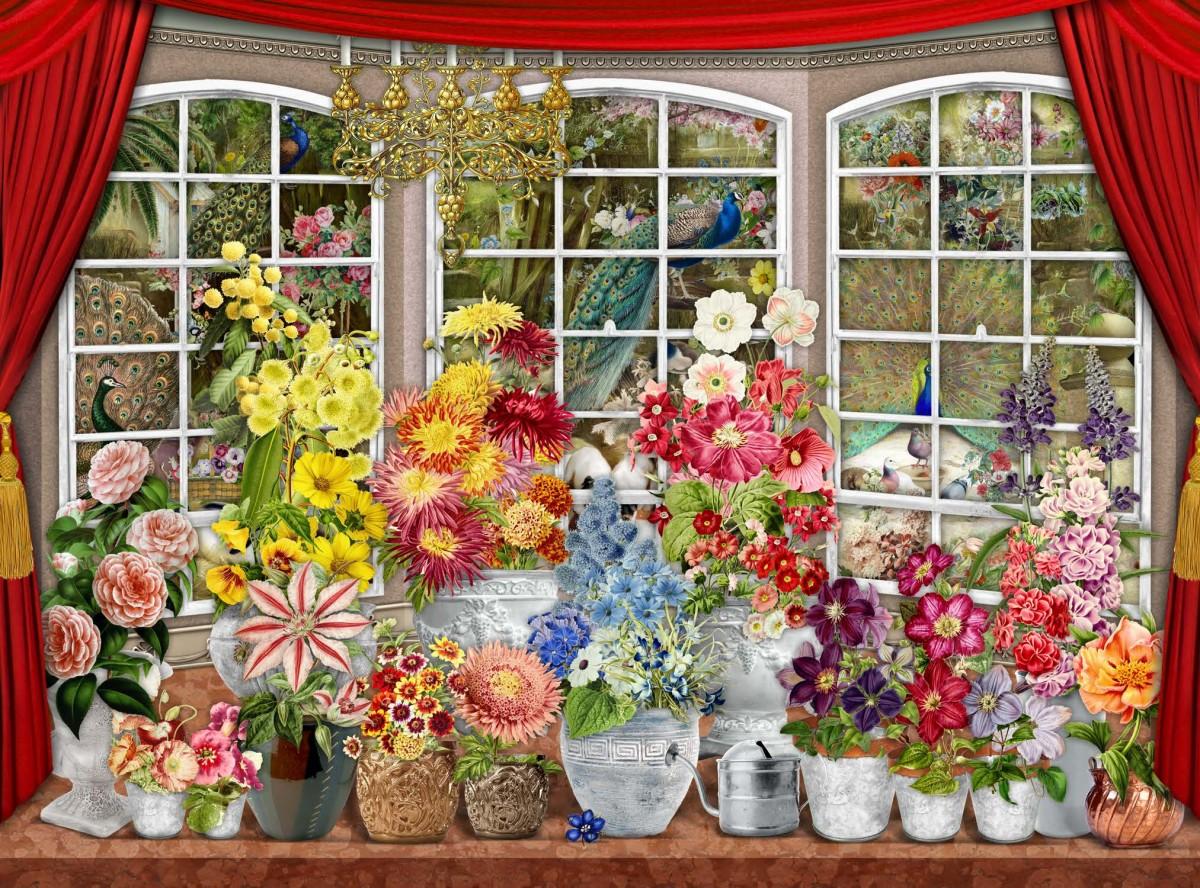 Puzzle Recueillir des puzzles en ligne - The flowers on the window