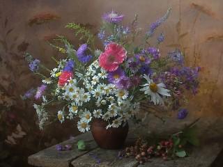 Собирать пазл Bouquet with poppies онлайн