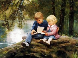 Собирать пазл Children look in the book онлайн
