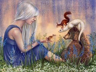 Собирать пазл Girl and animals онлайн