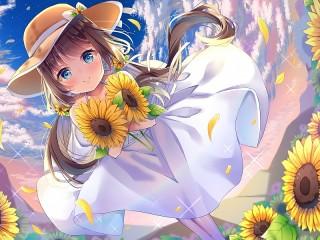 Собирать пазл Girl and sunflowers онлайн