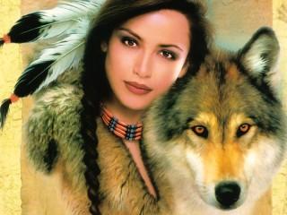 Собирать пазл Girl and wolf онлайн