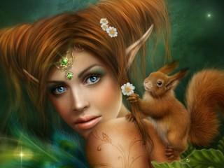 Собирать пазл Girl and squirrel онлайн