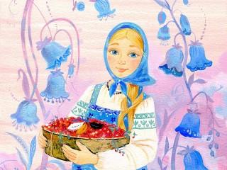 Собирать пазл Girl with berries онлайн