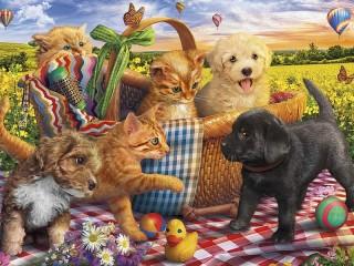Собирать пазл Friends on a picnic онлайн