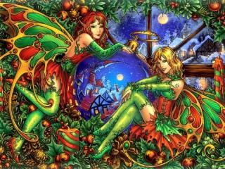 Собирать пазл Elves and Christmas онлайн