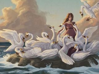 Собирать пазл Eliza and the swans онлайн