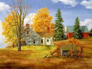 Собирать пазл Farm in autumn онлайн