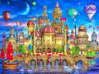 Собирать пазл Town on the float онлайн