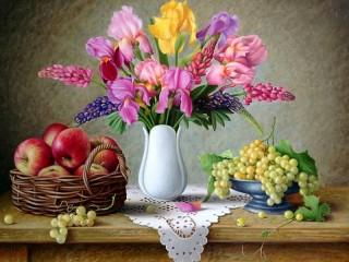 Собирать пазл Irises and lupins онлайн