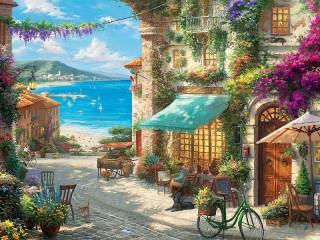 Собирать пазл Italian cafe онлайн
