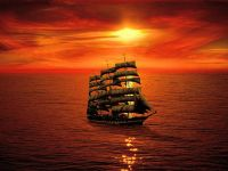 Собирать пазл Ship at sunset онлайн