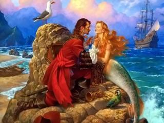 Собирать пазл Corsair and mermaid онлайн