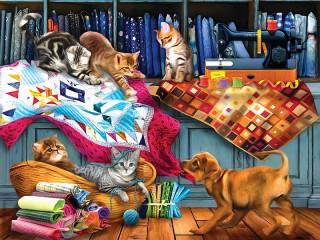 Собирать пазл Kittens and puppy онлайн