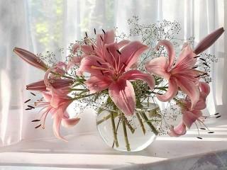 Собирать пазл Lilies on the window онлайн