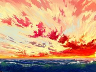 Собирать пазл Sea and clouds онлайн