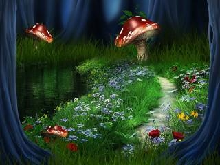 Собирать пазл Fly agaric in the forest онлайн