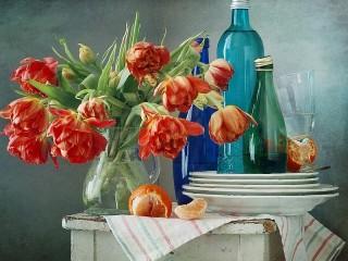 Собирать пазл Still life with Tulip онлайн