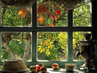 Собирать пазл Window to the garden онлайн