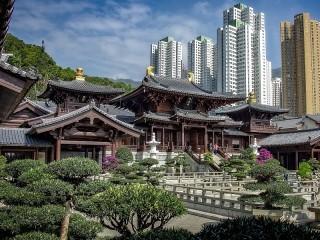 Собирать пазл Pagodas and skyscrapers онлайн
