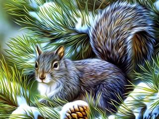 Собирать пазл Portrait of a squirrel онлайн