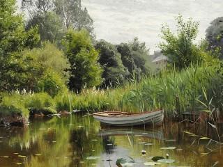 Собирать пазл The pond in the woods онлайн