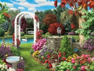 Собирать пазл Pond in garden онлайн