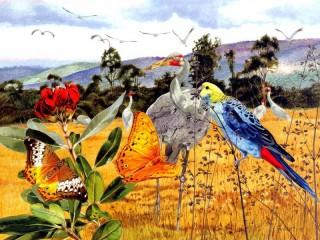 Собирать пазл Birds and butterflies онлайн