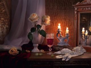 Собирать пазл Roses and candles онлайн