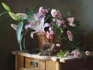 Собирать пазл Pink bouquet онлайн