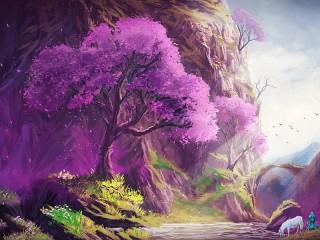 Собирать пазл Sakura on the water онлайн