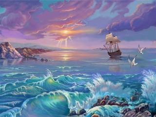 Собирать пазл Storm on the sea онлайн