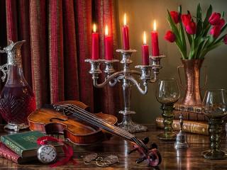 Собирать пазл Violin and candles онлайн