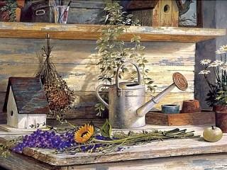 Собирать пазл Table of florist онлайн