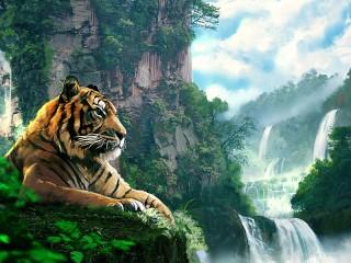 Собирать пазл Tiger at waterfall онлайн