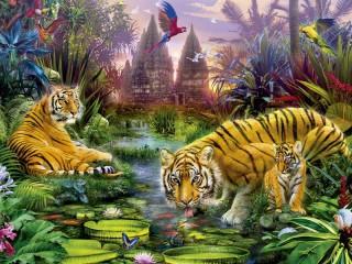 Собирать пазл Tigers at watering онлайн