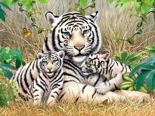 Собирать пазл Tigritsa s tigryatami онлайн