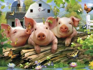 Собирать пазл Three piggies онлайн