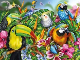Собирать пазл Tropicheskie ptitsi онлайн