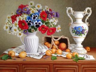 Собирать пазл Flowers and apricots онлайн