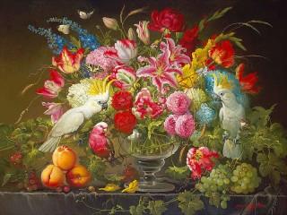 Собирать пазл Flowers and birds онлайн