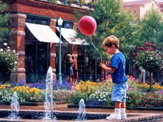 Собирать пазл At fountain онлайн