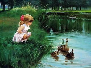 Собирать пазл At pond онлайн