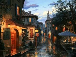 Собирать пазл Street after rain онлайн