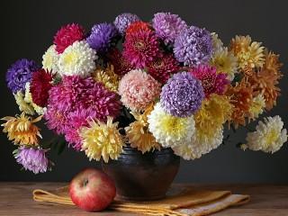 Собирать пазл Apples and bouquet онлайн