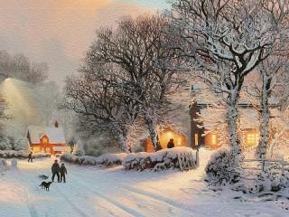Собирать пазл Winter in the village онлайн