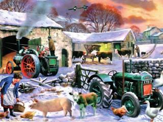 Собирать пазл Winter on farm онлайн